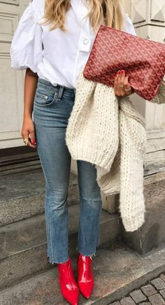 fall outfit idea : white shirt + bag + jeans + knit cardigan + red boots