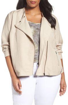 Main Image - Sejour Linen Blend Moto Jacket (Plus Size)
