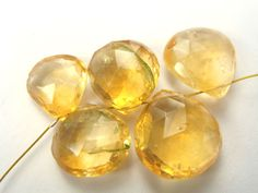 Citrine Faceted Heart (Quality B) / 9 to 12.5 mm / 2.5 cm / 21.80 carats / 5 pieces / ST-2400 by beadsofgemstone on Etsy