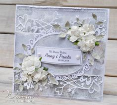 Hand made by Wisnia, Wedding card with flowers Wedding Cards Handmade, Beautiful Handmade Cards, Wedding Scrapbook, Scrapbook Cards, Pretty Cards, Cute Cards, Heartfelt Creations Cards, Mixed Media Cards, Shabby Chic Cards