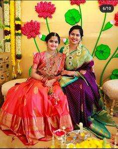 Half Saree Lehenga, Lehenga Saree Design, Pattu Saree Blouse Designs, Half Saree Designs, Fancy Blouse Designs, Indian Lehenga, Half Saree Function, Indian Dresses For Women, Kids Party Wear