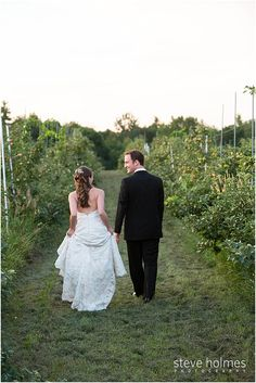 Newlyweds walk through the orchard together. Photo by Steve Holmes Photography