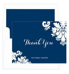 Navy Damask Thank You Note Cards