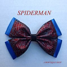 spiderman hair bow by abowtiqueshop on Etsy