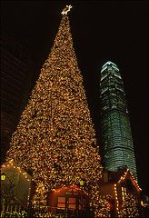 hong kong skyline and Christmas tree. Hong Kong knows how to do Christmas well! This tree was beautiful year after year.