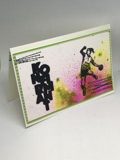 Hei, konfirmant kort til ei jente som er glad i håndball i dag, i rosa og grønne toner. Bakg... Projects, Cards, Blogging, Log Projects, Maps, Playing Cards