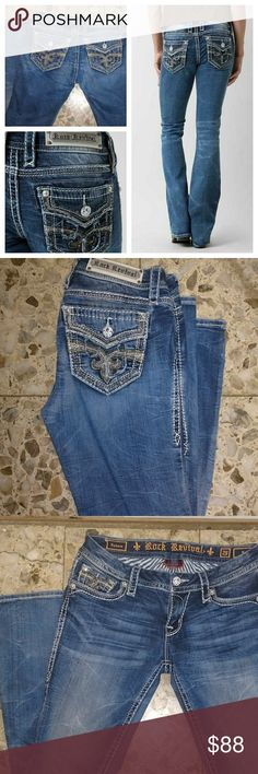 Rock Revival 28 sukura stretch jean run bigger Like new Rock Revival Jeans Boot Cut