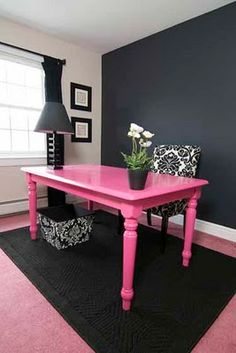 Your Home Office Should Represent Style I Love This Pink Desk With Black As An Accent Ideas Dream Homes