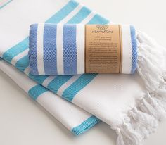 Blue Extra Thick Turkish Bath Towel Peshtemal 100% Cotton