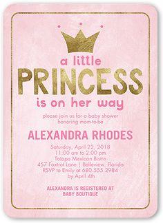 Baby Shower Invitation: Newborn Princess, Rounded Corners, Pink