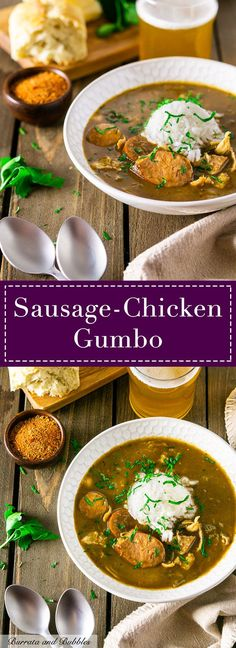This authentic gumbo recipe with tender chunks of andouille sausage and chicken is made with a traditional roux for the ultimate Cajun recipe. There's no better comfort food than this andouille sausage and chicken gumbo. Chicken Gumbo Recipes, Cajun Recipes, Chili Recipes, Cooking Recipes, Soup Recipes, Drink Recipes, Chicken Gumbo Soup, Haitian Recipes, Chicken Soups