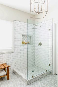 awesome small bathroom ideas corner shower tile designs with Master Bathroom Shower, Shower Niche, Upstairs Bathrooms, Shower Floor, White Bathrooms, Bathroom Showers, Basement Bathroom, Cozy Bathroom, Subway Tile Bathrooms