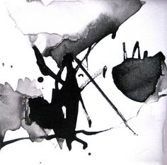 OOAK Original Informal Abstract Expressionist Ink Direct Drawing Fine Art Black White Aquarelle Painting Modern Intuitive Watercolor Zen  $30.00 USD