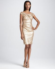 Cap-Sleeve Sequined Cocktail Dress by David Meister at Neiman Marcus.