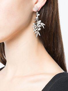 Oscar de la Renta bamboo leaf drop earrings