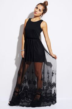 #1015store.com #fashion #style black embroidered sheer mesh evening maxi dress-$20.00
