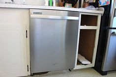 Do you want to adding a dishwasher to existing cabinets? Here is how we created a dishwasher cabinet and installed a dishwasher where there was none. Dishwasher Cabinet, Small Dishwasher, Dishwasher Cover, How To Install A Dishwasher, Home Renovation, Home Remodeling, Kitchen Remodeling, Dishwasher Installation, New Kitchen Cabinets