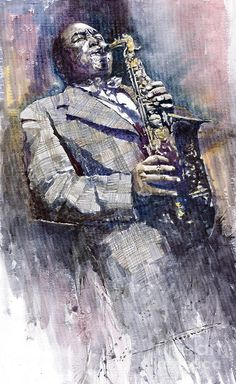 Yuriy Shevchuk, Jazz Saxophonist Charlie Parker - Born in 1961 in Kiev, Ukraine, Yuri Shevchuk attended the Kiev Art School and the prestigious Kiev Architectural Academy. Yuriy has recorded his own experiences in his artworks: his three passions, painting, jazz and historical cars have become the focus of his paintings. Bewitched with jazz music he skillfully and rapidly sketches the cool and charming figures of musicians in action, showing the positive mood and spiritual intensity of jazz.
