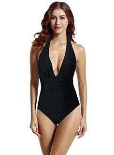 25143abc9dbb8 zeraca Women's Shirred Detail Plunge Deep V Neck Backless One Piece  Swimwear Bathing Suit (Black,