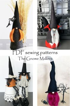 Witches and Vampires! You'll love these gnome sewing patterns.