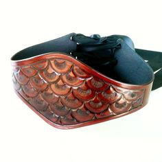 Fish Scale Pattern Handmade Tooled Mahogany Leather Wide Corset Laced Belt