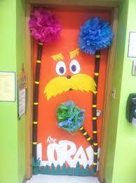 Dr Seuss door decoration for the classroom door. The Lorax! School Door Decorations, Classroom Decor Themes, Classroom Door, Science Classroom, Classroom Ideas, Infant Classroom, Dr Suess Door Decorations, Library Decorations, Christmas Decorations