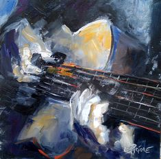 guitar painting | Kevin LePrince: Charleston Artist: Guitar Hero, 8x8 Oil Painting
