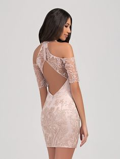 Val Stefani Cocktail 3366RE stunning short lace formal dress with keyhole back and short sleeves