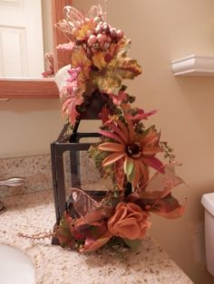 Fall decorated Lantern by DoorDecorandFlorals on Etsy, $24.00