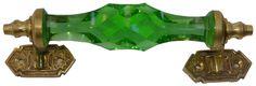 Green Cut Glass  Door Handle