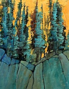 Abstracted landscape, Into the Woods 4 Carol Nelson Fine Art, painting by artist Carol Nelson