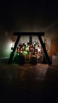 DIY beer lights - nice lightning made by putting christmaslights into empty beer bottles. Own creation, really simple, really cool