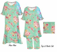 Mint Green Spring Flowers Print Moo Moo Dress or 2-Piece Pants Set Customize Plus Size & Supersize Top & Pant Lounge Set 0x 1x 2x 3x 4x 5x 6x 7x 8x 9x