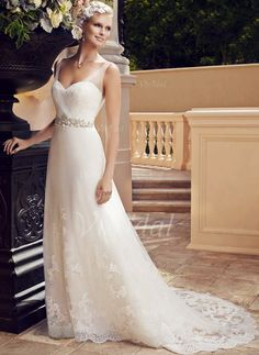 Wedding Dresses - $198.57 - A-Line/Princess V-neck Court Train Satin Tulle Wedding Dress With Beading Appliques Lace (0025058307)