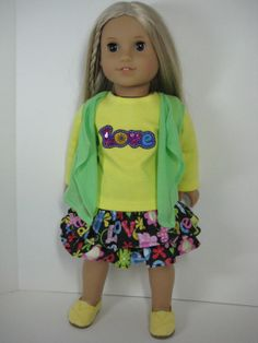 18 inch Doll Clothes American Girl Ruffled Love Skirt School Outfit