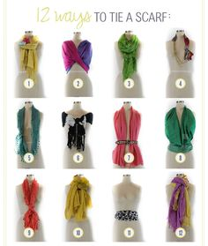 Stumped for creative ways to tie your neck scarves? Try these tips! ♥1. Yellow Scarf: Add a corsage to spice up your scarf. ♥2. Pink and Purple Scarf: Use an infinity scarf as a shawl. ♥3. Lime Gre…