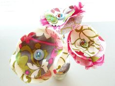 Fabric Flowers Fake Flowers Spring Flowers Button by Itsewbella, $13.00