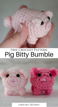 Introducing Bitty Bumbles: A Crochet Pig - Crochet 365 Knit Too - - A crochet pig to make that is such a delight. Small and adorable, works up fast. Great introduction to amigurumi techniques! Crochet Pig, Cute Crochet, Crochet Crafts, Easy Crochet, Crochet Toys, Dishcloth Crochet, Mandala Crochet, Crochet Humor, Crochet Afghans