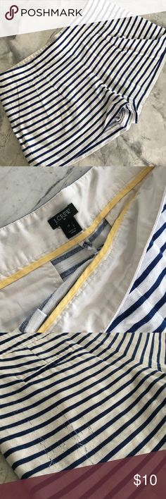 Nautical J. Crew Navy Blue Striped Shorts Nautical  style J. Crew Navy Blue Striped Shorts, side zip, has a few string imperfect a, as shown in photo otherwise in great shape! J. Crew Shorts
