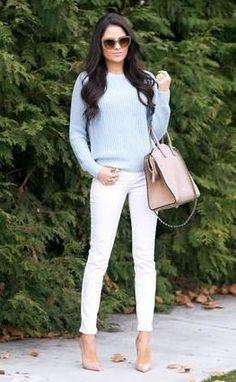 #winter #fashion /  Blue Knit + Skinny Jeans