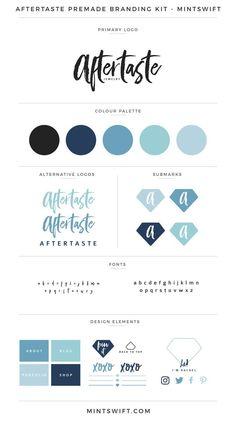Aftertaste Premade Branding Kit – MintSwift Simple brand and logo design ideas Corporate Design, Brand Identity Design, Branding Design, Self Branding, Branding Kit, Web Design, Blog Website Design, Blog Design, Branding Your Business