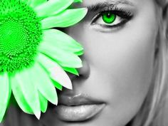 Green Eye with Green Flower #eye #green #flower