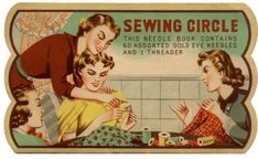 A free image of a vintage needle book featuring a sewing circle from the library of Amy Barickman, a collector and curator of vintage ephemera.