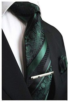 Dark Green and Black Striped Paisley Necktie Set - Toramon Necktie Company Silk Jacquard Woven Necktie Set Color: Dark Green and Black Length, Width Matching Pocket Square 1950s Aesthetic, Aesthetic Clothes, Dark Green Wallpaper, Dark Green Aesthetic, Technicolor Beat, Dark Green Kitchen, Slytherin Aesthetic, Paisley Tie, Green Tie