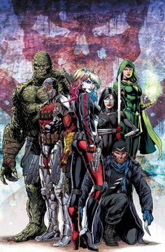 Suicide Squad: Killer Croc, Deadshot, Harley Quinn, Katana, Captain Boomerang & Enchantress by Jason Fabok (DC) Comic Book Artists, Comic Book Heroes, Comic Artist, Comic Books Art, Katana, Gotham, Harley Quinn, Arte Dc Comics, Deadshot