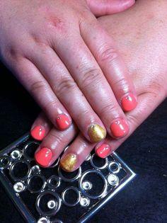 orange and gold gel Polish nails