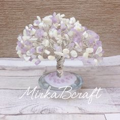 Handmade Amethyst and Mother of Pearl semi-precious stone chips gemstone silver plated cooper wire tree by MirkaBcraft on Etsy