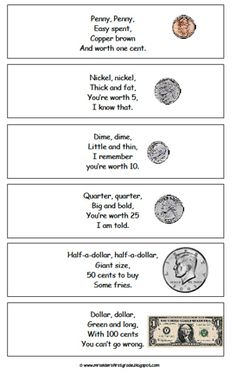 Here's a nice copy of the coin poem. I used this poem when I taught first grade.