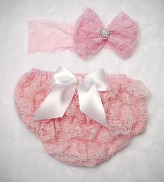 Baby Girl Lace Bloomer diaper cover and bow headband set Pink bloomers with white satin bow and headband newborn photos baby shower gift by ChesapeakeBayby on Etsy