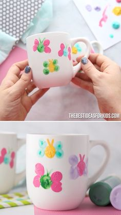 Fingerprint Butterfly Mug - Such S Beautiful Gift For Kids To Make For Mothers Day An Easy Mothers Day Craft Gift Idea. Easy Mother's Day Crafts, Spring Crafts For Kids, Mothers Day Crafts For Kids, Diy Mothers Day Gifts, Fathers Day Crafts, Fun Crafts, Paper Crafts, Diy Gifts For Christmas, Diy Gifts For Kids